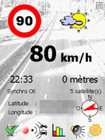 Ecran principal de vitesse limite
