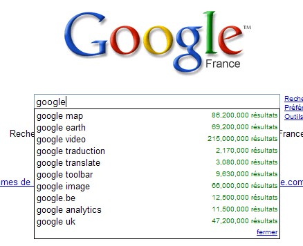 Outil de suggestion Google